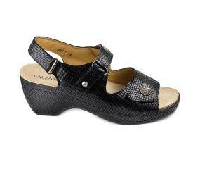 Calzamedi - Black Python Wedge Sandal
