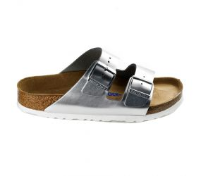Birkenstock - Arizona Soft Footbed Metallic Silver Leather
