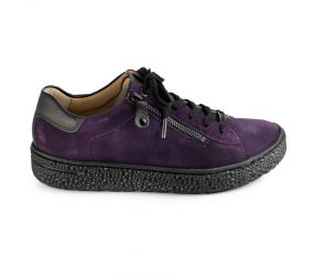 Hartjes - Phil Purple Suede/Black Nappa Lace w/ Side Zipper