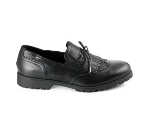 Valleverde - Black Leather Kiltie Loafer