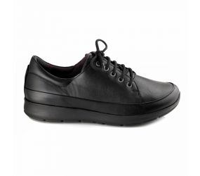 New Feet - Black Leather Stretch Oxford