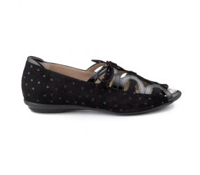 BeautiFeel - Lea Closed Heel Ghillie Black 3D Stargazer Print Suede