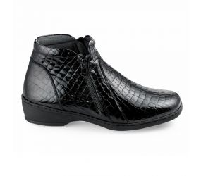 Notton - Black Leather Double Zip Boot
