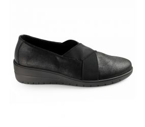 Solidus - Helia Black Leather Slip On