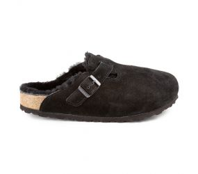 Birkenstock - Boston Black Suede Shearling