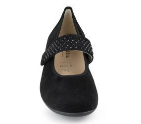 Hassia - Petra Black Suede MJ Wedge