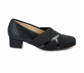 Hassia - Evelyn Black Stretch/Dots Pump