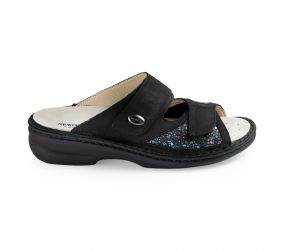 Goldstar - Black/Silver Two Strap Wedge