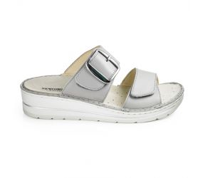 Goldstar - Grigio Leather Two Strap Wedge