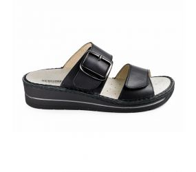 Goldstar - Black Leather Two Strap Wedge