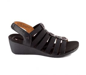 Revere Shoes - Bari Black French Backstrap Wedge