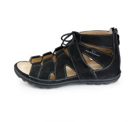 Hartjes - XS Sandy Black Nubuck Gladiator Sandal