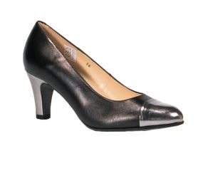 PieSanto - Black Leather/Silver Pump
