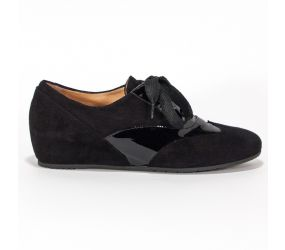 Mafer - Black Suede/Patent Wedge Oxford
