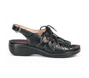 PieSanto - Black Leather Ghillie Sandal