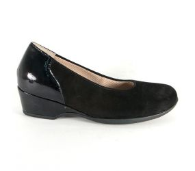 Waldlaufer - Hilke Black Suede/Leather Wedge Slip On