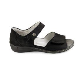 Waldlaufer - Hilena Black Nubuck Sandal