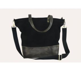 Kiko Leather - Boyfriend Tote Canvas Bag - Black
