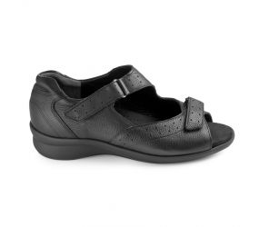 Durea - Black Closed Heel Velcro Sandal
