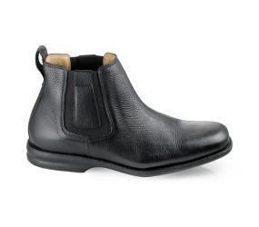 Gaivota - Black Leather Chelsea Boot - Wide