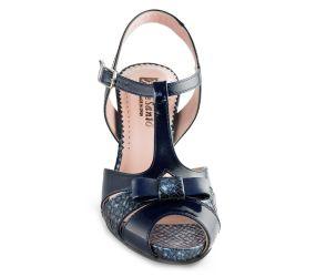 PieSanto - Navy Patent/Boa Heeled Sandal