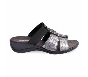 Tisha Black/Silver Sandal