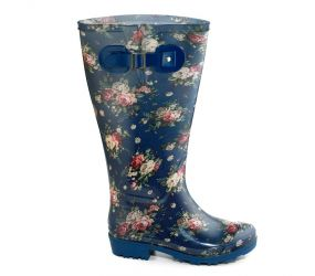JJ Footwear - Welly Boot Blue Flowers 2X-3X