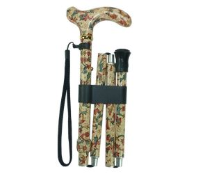 Vista International - Adjustable Slim Folding Cane / Cherry Flower