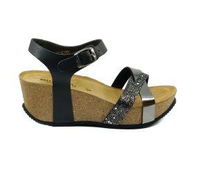 Valleverde - Black Cork Wedge Sandal
