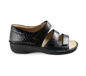 Hergos - Black Croco Closed Heel Sandal