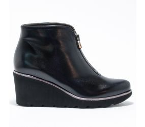 Brunate -Zip Wedge Black Nappa Bootie Water Resistant