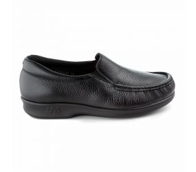 SAS Shoemakers - Twin Black Leather Slip On