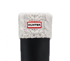 Hunter Dual Cable Knit Sock - White