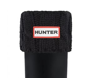 Hunter 6 Stitch Cable Boot Sock - Black