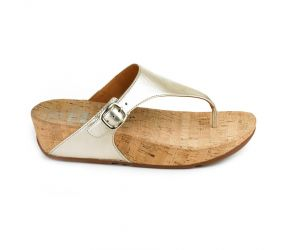 FitFlop The Skinny Leather TM Pale Gold Thong Sandal