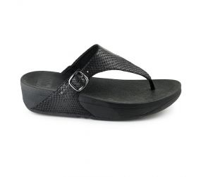 FitFlop The Skinny Leather TM Black Snake Thong Sandal