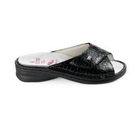 Sabatini - Black Croco One-Strap Slide