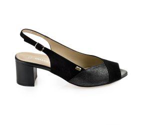 Valleverde - Black Heeled Sling Sandal